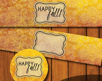 Fall Blank Mason Jar Printable / Happy Fall Mason Jar Printable / Mason Jar Lid Printable / Fall / Autumn / Printable / Mason Jar