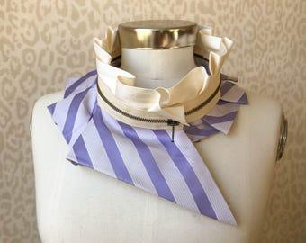 Collier femme, collier fermeture à glissière, collier plastron soie, accessoire féminin, accessoire de mode style, véritable fait à la main #250