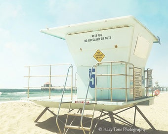 Beach Wall Decor, Huntington Beach Photography Print Lifeguard Stand Tower California Wall Art Summer Outdoor Beach Scene Bedroom Wall Decor