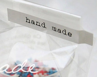 64 Hand-Made Stickers - White (2.8 x 0.5in)