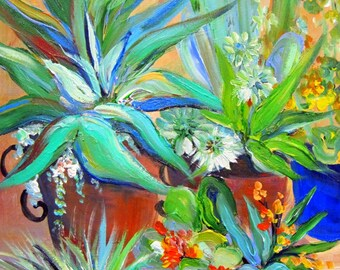 Cactus II Suculant Garden  16 x 20 Art by Elaine Cory