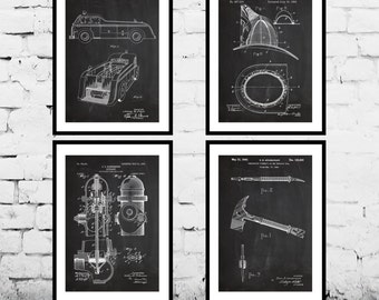 Firefighter Patent 4 pack, Firefighter Poster, Firefighter Art, Firefighter Decor, Firefighter Wall Art, Firefighter Blueprint, Firefighter
