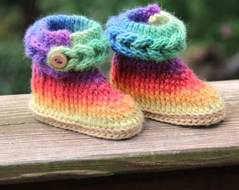 CROCHET PATTERN: Knit-Look Braid Stitch Booties (Baby Sizes) - Permission to Sell Finished Product