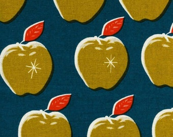 Canvas Apples Teal/Mustard - 1/2 Yard - Melody Miller for Cotton and Steel