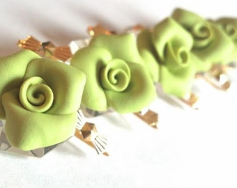 5 Spring Green Chandelier Roses 18mm Shabby Chic Chandelier Crystals