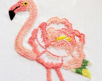 Embroidery pattern, PDF Digital Download, Floral Flamingo, modern hand embroidery patterns by NaiveNeedle