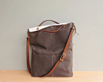 Convertible Waxed Canvas Tote with Leather Strap in Seal, Dark Brown Waxed Canvas Bag, Crossbody Purse with Leather, Tote Bag Made in USA