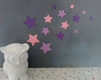Set of pink and purple stars wall decor