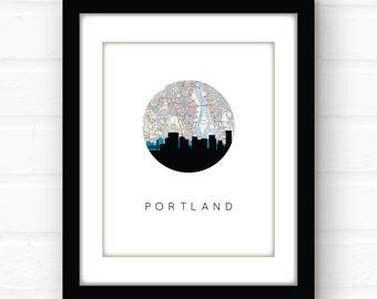 Portland Oregon art   Portland map print   Portland skyline   Portland art print   Portland Oregon map   Portland print   travel map art