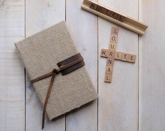 Natural Burlap Journal or Sketchbook with Leather Tie, Writing Journal, Unlined Notebook, Blank Journal, Blank Diary, Blank Notebook