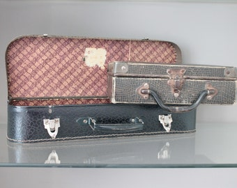 2 French antique suitcase, covered with cardboard and metal hinges, child's suitcase, VAL171314