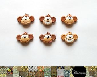 Monkey Fridge Magnets [Fridge Magnets, Fridge Magnet Sets, Refrigerator Magnets, Magnet Sets, Office Decor, Kitchen Decor, Magnetic Board]