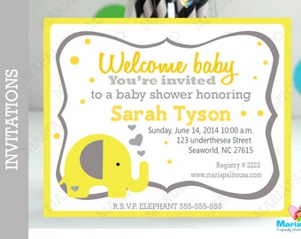 6 Baby shower Invitations, Handmade Baby Shower Elephant Invitations, Gray and Yellow Party A1074