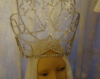 Vintage Shabby Cottage Chic Huge Pageant Santo Rhinestone Crown