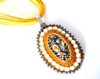 Yellow necklace, Bead embroidered necklace, Gift for women, Beaded jewelry, Seed beads pendant necklace