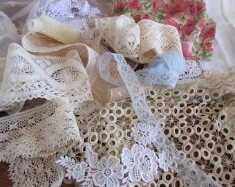 Craft Supplies , Lot of   Vintage Lace , Tule,  Trims , Mixed Lace Lot , Destash  Lace , Sewing Supplies  .