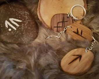 Viking Rune keyrings in Oak or Walnut