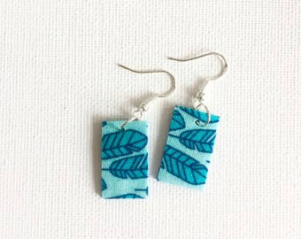 Drop earrings. Recycled Fabric. Bright colourful eclectic one of a kind. Dangle. Square. Feathers. Blue. Teal. Fun. Unique gift. Lightweight