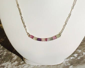 Handmade Sterling Silver Flourite Bar Necklace