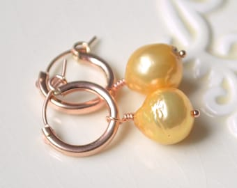 Rose Gold Hoops with Yellow Pearls, Pink Gold Earrings, Elegant Jewelry, Freshwater Pearls, Summer Fashion Accessory, Free Shipping