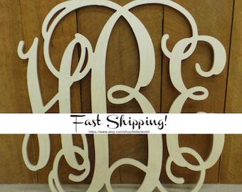 Nursery Decor - Vine Script Wooden Monogram - Wall Hanging