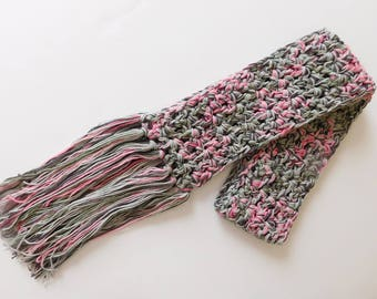 Crocheted Pink Camo Scarf, One Of A Kind Womens Scarf, Made in USA