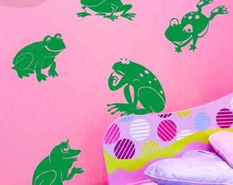 Frog Jubilee - 6 Frogs - Vinyl Wall Decals