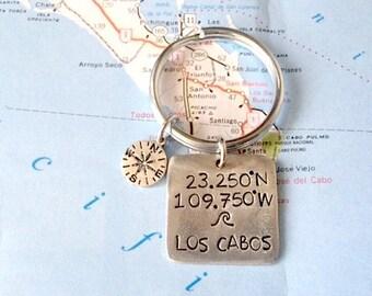 Los Cabos Latitude Longitude Keychain Charm.  Compass charm.