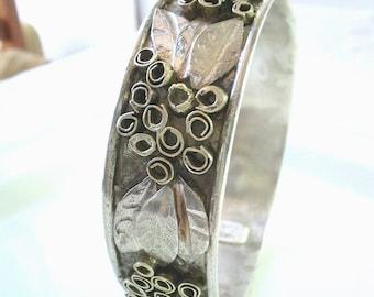 Silver Gold Bangle Bracelet, Sterling Silver Bangle Bracelet, Artisan Jewelry,