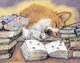 Welsh Corgi dog researching for his novel 8x10 print writer writing author novelist falling asleep on his desk Susan Alison Art design