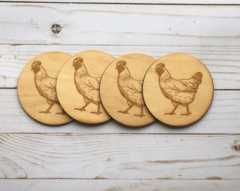 Chicken Laser Engraved Wood Coasters Set of 4