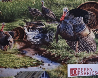Turkeys Fabric, Wild Fancy, Wild Wings by Jim Kasper for Springs Creative, Quilt or Craft Fabric, Fabric by the Yard.