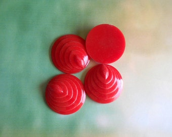 Round Detailed Cabochons, Retro Red Cabochons, Pyramid  Cabochons, Vintage Lucite Cabochon Pendant, Detailed Round Cabochon, Flat back, 4