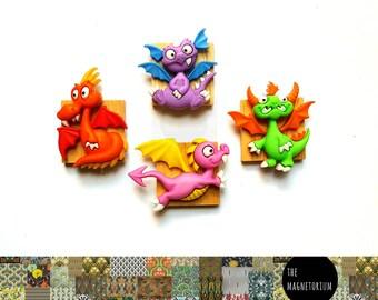 Dragon Magnets [Fridge Magnets, Fridge Magnet Sets, Refrigerator Magnets, Magnet Sets, Office Decor, Kitchen Decor, Magnetic Board]