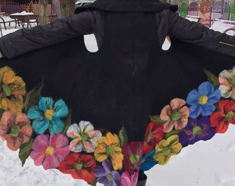 Round felted vest with big exotic flowers