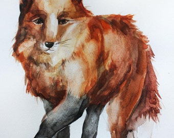 Fox original watercolor, Watercolor Fox, Animal fox, animal watercolor, for children room decor, red fox Art, wall art, fine art OOAK