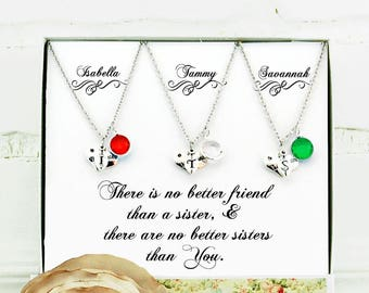 Gift for sister 3 Sisters necklace Personalized sister gift Sister best friend Sisters Valentine's gift Sister birthday Sister jewelry Twins