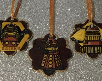 On Sale! 3 Upcycled Dr Who Fabric Holiday Ornaments, Dr Who Christmas, Daleks