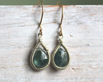 Blue Green Sapphire Earrings - Teardrop Earrings - Mixed Metal - Small Gemstone Dangle Earrings - Sapphire Jewelry
