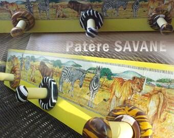 Hanging hook original medium wood, painted with acrylics, Savannah animals theme 3
