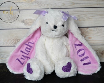 Personalized Stuffed Animal, Large Bunny, Easter Bunny, Kids Birthday Gift, Plush, Baby Boy Gift, Kids Easter Gift, Baby Girl, Baby Shower