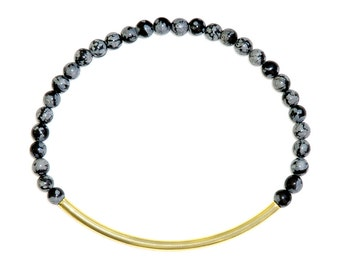 Elegant gemstone bracelet with snowflake obsidian-grey minimalist pearl bracelet-Lea