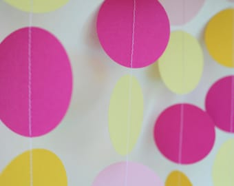 Birthday Party Decoration, Baby shower decor, Paper garland, Pink lemonade