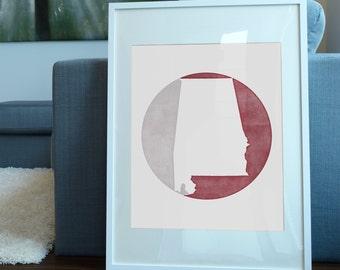Alabama Art Print / Crimson Tide