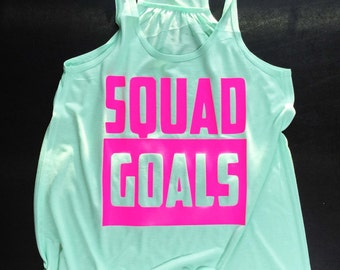 Squad Goals, Slay, Funny Workout Tank, Workout, Gym, Exercise, Flowy Workout Tank