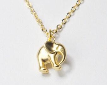 Gold Elephant Necklace. Elephant Charm Necklace. Gold Necklace. Gold animal necklace.