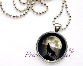 Howling Wolf in the Full Moon Pendant 2. Howling Wolf necklace. Wolf pendant.