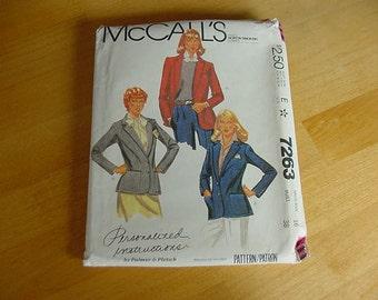 1980s McCalls Pattern 7263, Misses Lined, Fitted Jacket, Blazer, Size 16,  Bust 38,  Uncut, Vintage