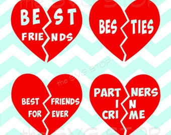 Best Friends Split Heart SVG and studio files for Cricut, Silhouette, Vinyl Cutters and Screen Printing
