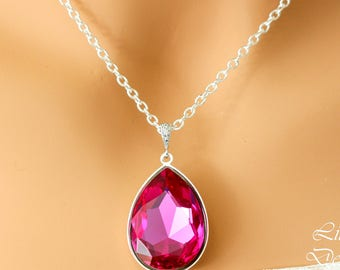 Layering Necklace Pink Necklace Swarovski Crystal Pink Pendant Large Pendant Magenta Statement Necklace Bridesmaid Necklace Teardrop RP42N
